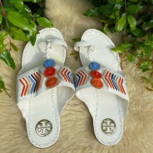 Tory Burch🌸🌼🌺white leather and colorful design